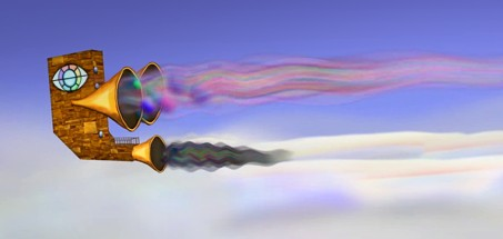 A picture of the Odyssey flying over a cloud